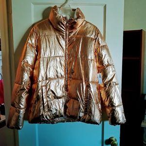 Brand new gold puffy jacket
